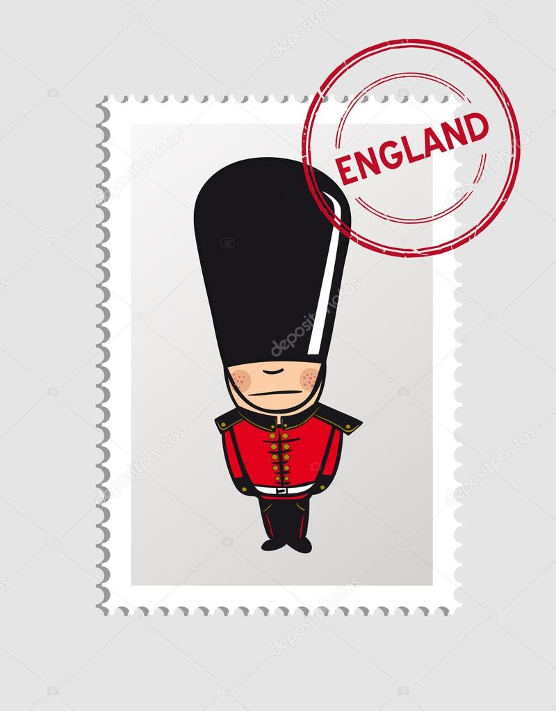 Timbre Postal Personne De Dessins Animés Anglais — Image encequiconcerne Garde Anglais Dessin