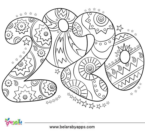 Top 10 New Year 2020 Coloring Pages Free Printable ⋆ Belarabyapps tout Happy Color Coloriage