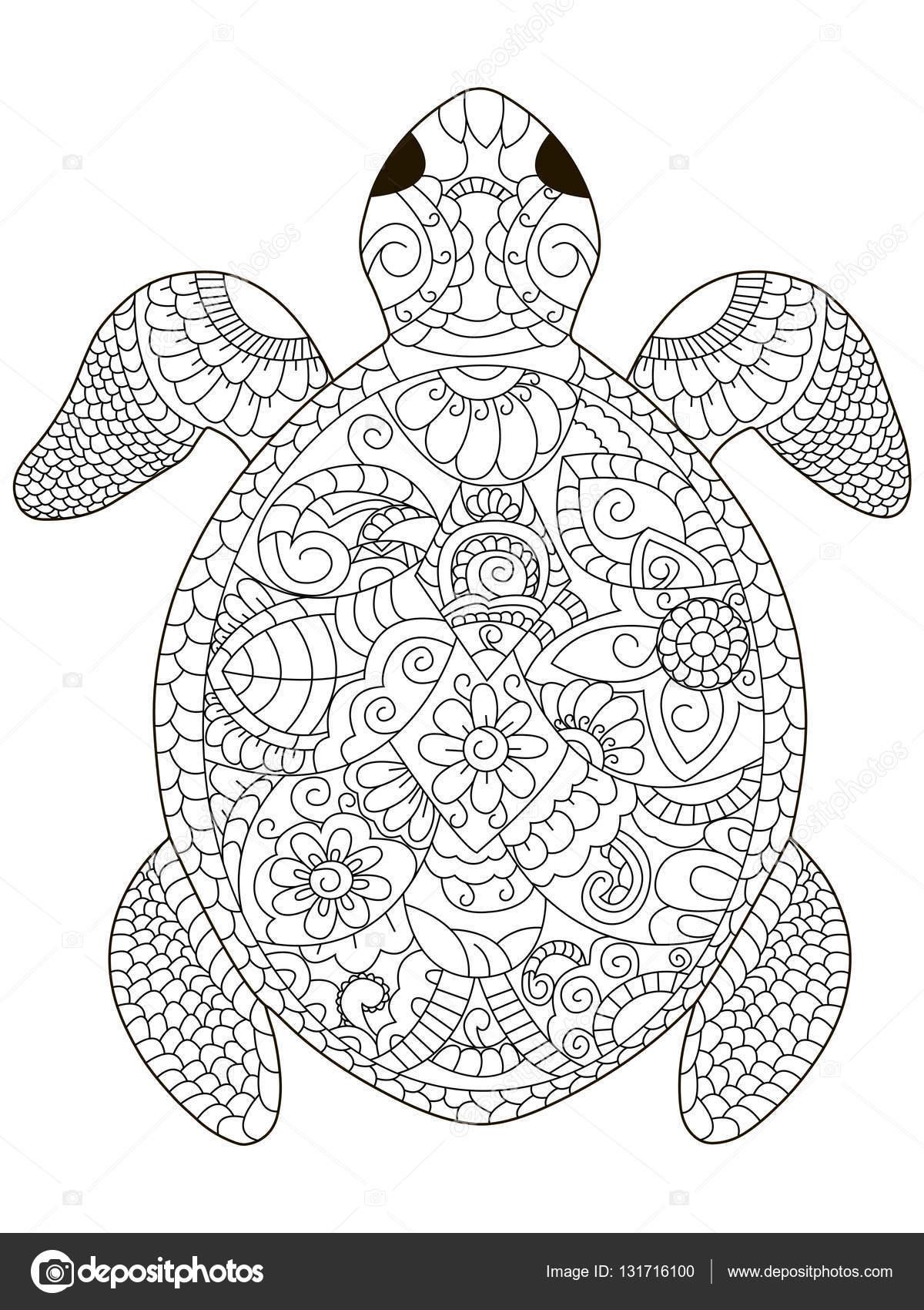 Tortue De Mer Vector De Coloriage Pour Adultes — Image tout Coloriage Anti Stress Adulte A Imprimer