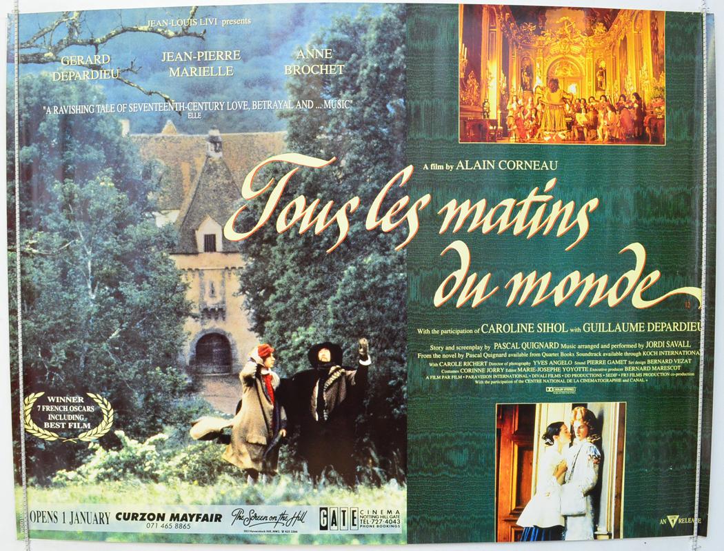 Tous Les Matins Du Monde (1992) Original Quad Movie Poster dedans Tous Les Coloriages Du Monde