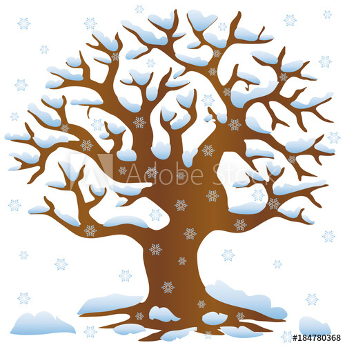 """Tree Without Leaves In Winter Covered With Snow And à Dessin Arbre Hiver"