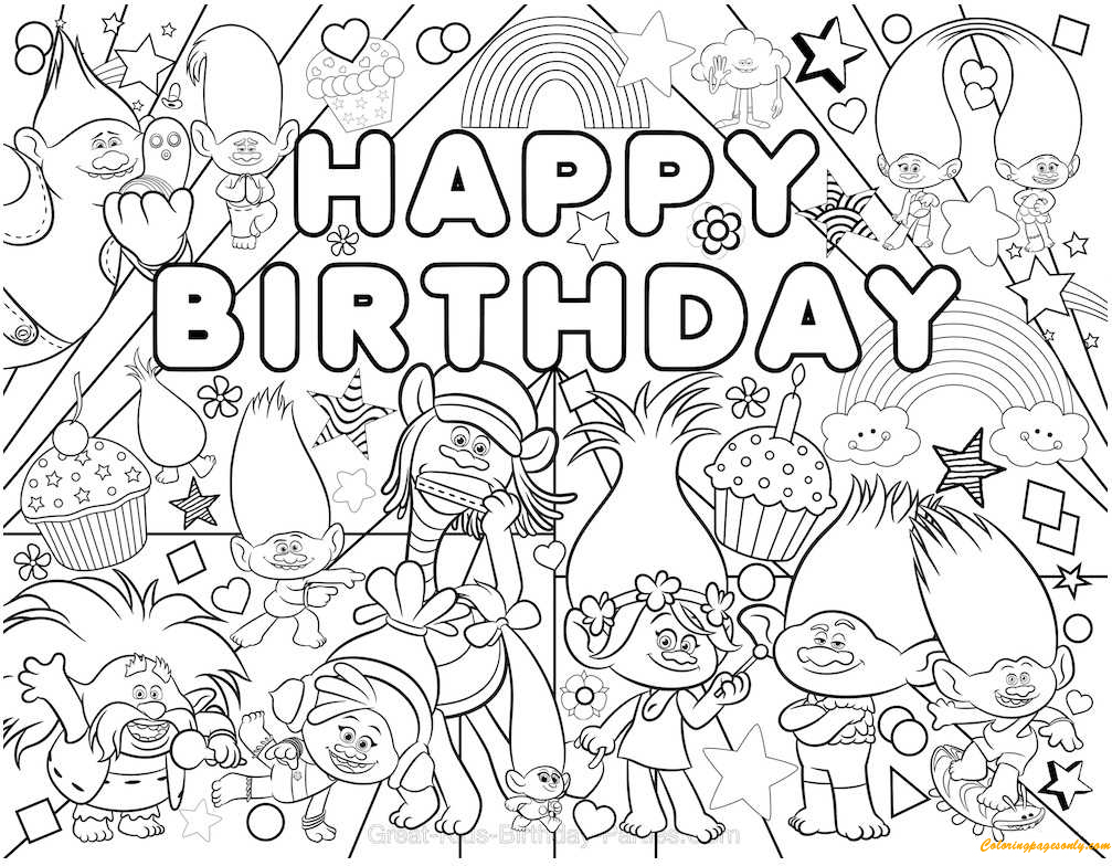 Trolls Party 1 Coloring Page - Free Coloring Pages Online concernant Dessin De Troll