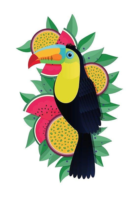 Tropical Toucan | Poster En 2020 | Animaux Geometrique encequiconcerne Coloriage Oiseaux Tropicaux