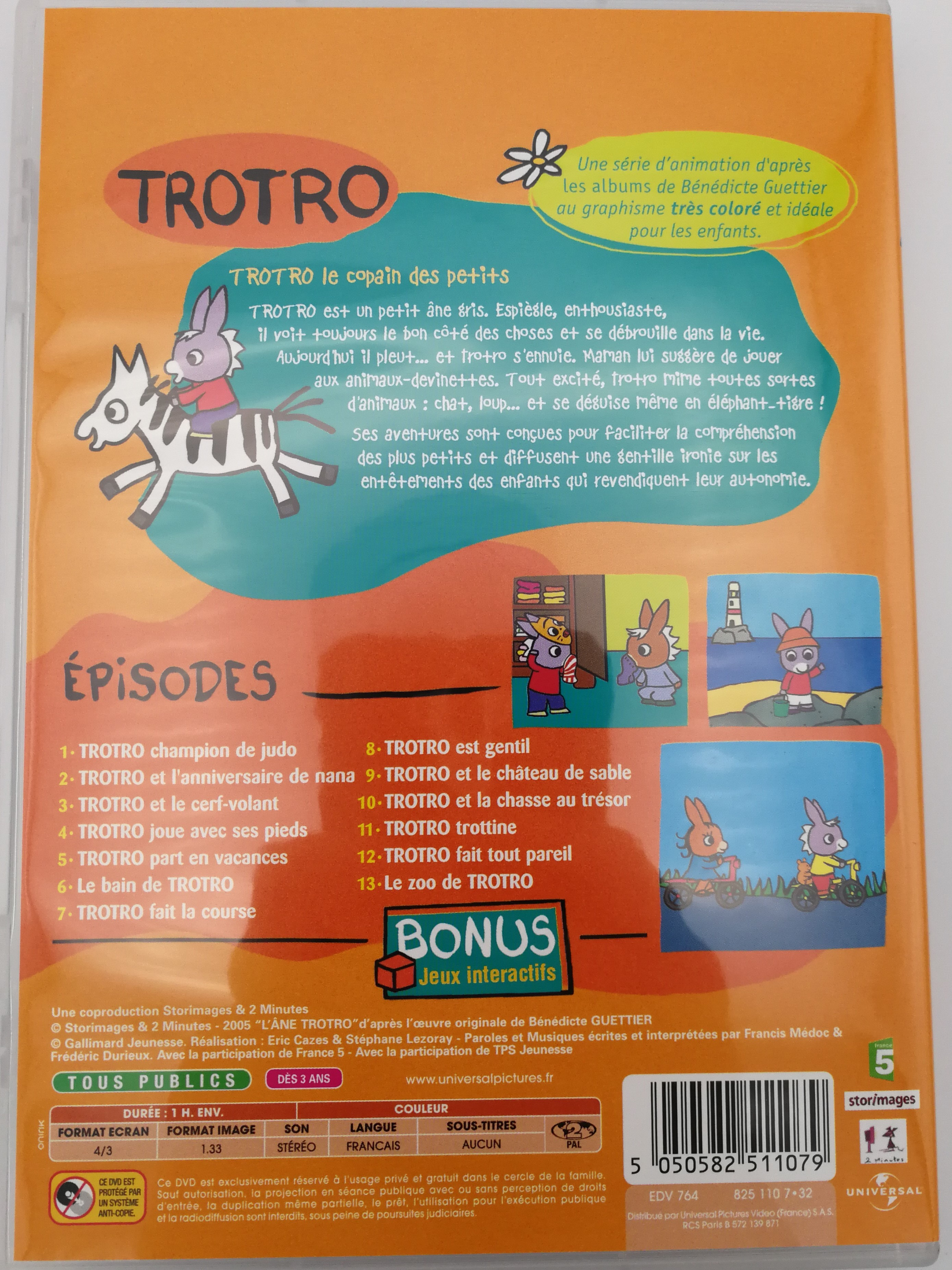 Trotro - Fait Son Zoo Dvd 2004 / Bonus: Interacive Games intérieur Trotro French Cartoon