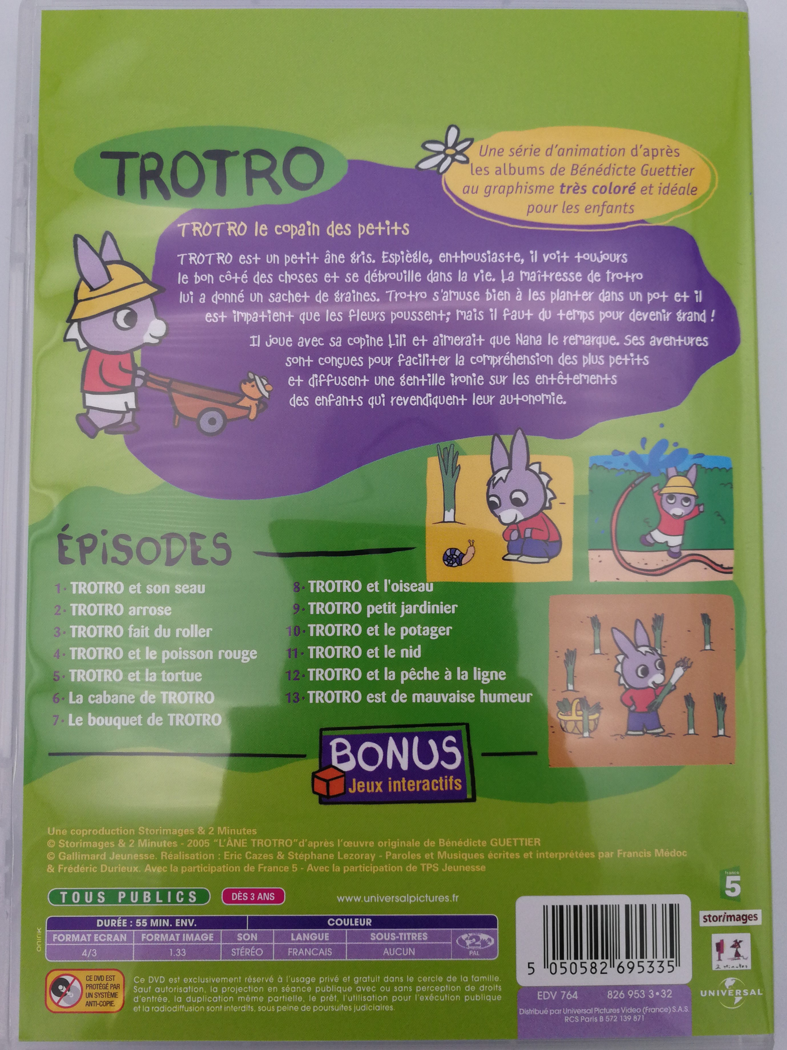 Trotro - Jardine Dvd 2004 / Bonus: Interacive Games - Jeux encequiconcerne Trotro French Cartoon