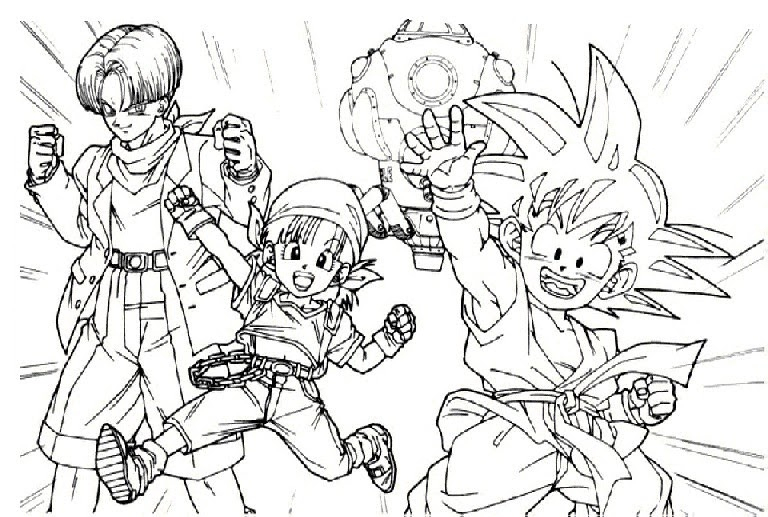Trunks, Goku Y Pan Para Colorear ~ 4 Dibujo avec Coloriage Trunks Du Futur
