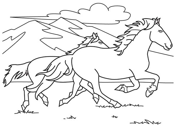 Two Horses Running On The Hill Coloring Page - Download à Dessin À Colorier Sur Ordinateur