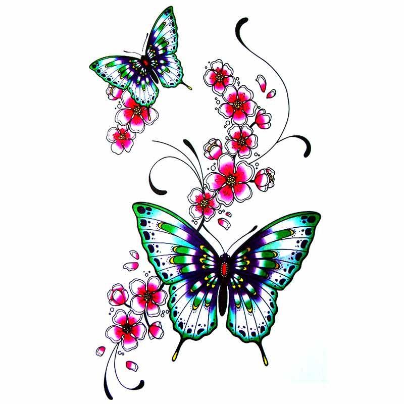 Uage Ephemere Fleur De Cerisier Japonais Papillon dedans Dessin De Papillon En Couleur