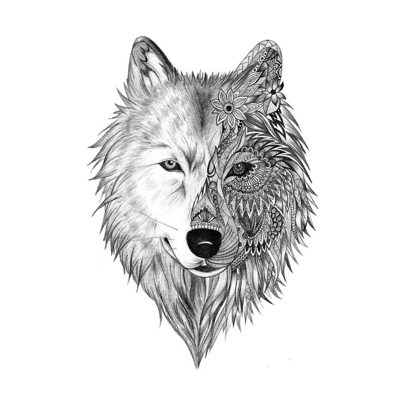 Uage Ephemere Loup Demi Face Tribal - Kolawi intérieur Tete De Loup Dessin