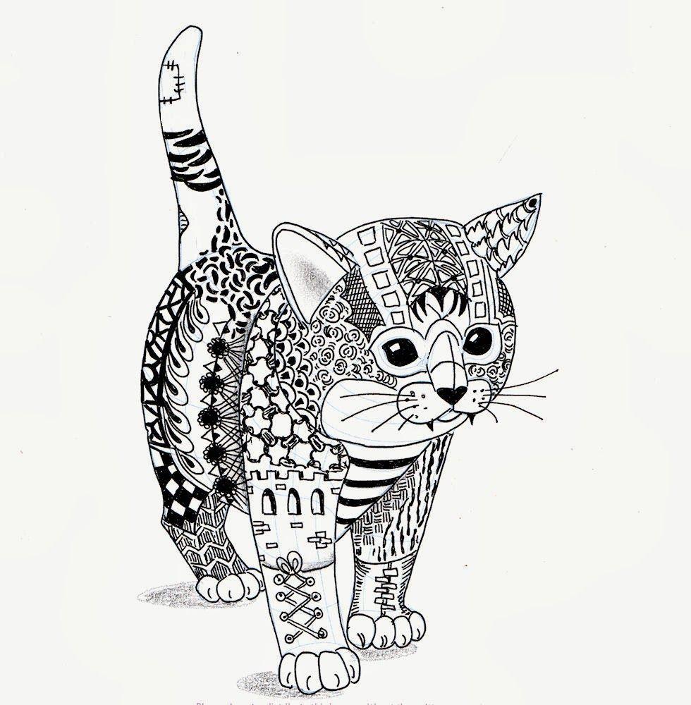 Un Chat | Gatito Para Colorear, Dibujos, Dibujos Zentangle à Dessin De Chat Simple