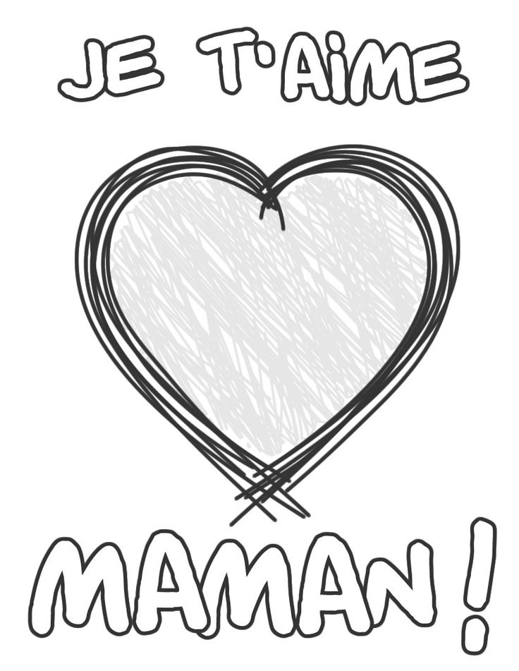 Un Coloriage Je T´aime Maman, Avec Un Gros Coeur Pour La serapportantà Dessin De Nounours Avec Un Coeur