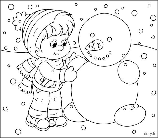 Un Enfant Et Un Bonhomme De Neige   Bonhomme De Neige pour Coloriage Hiver A Imprimer Gratuit