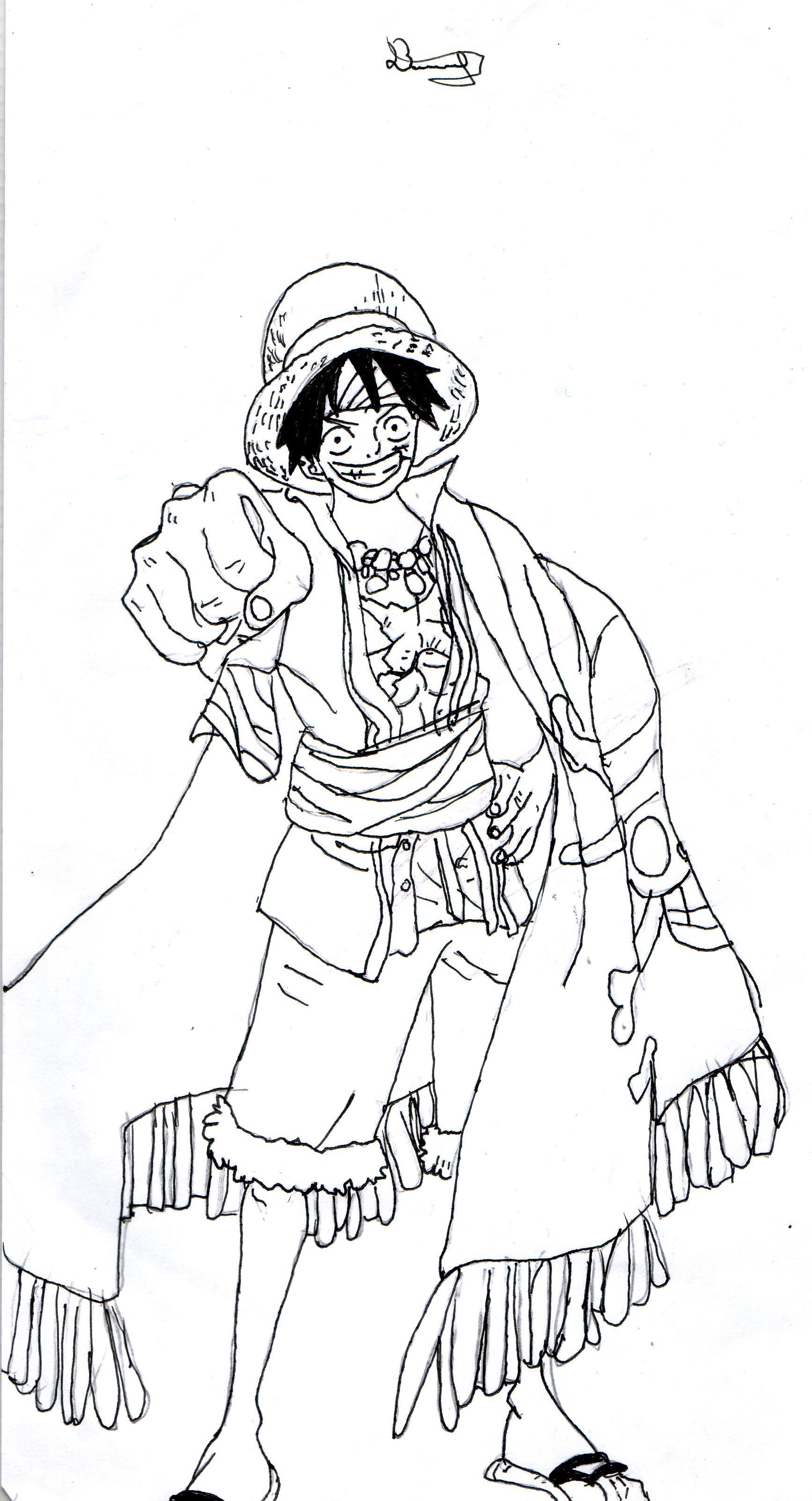Un Fan De One Piece Dessine Luffy Son Personnage Préféré intérieur Coloriage One Piece Luffy