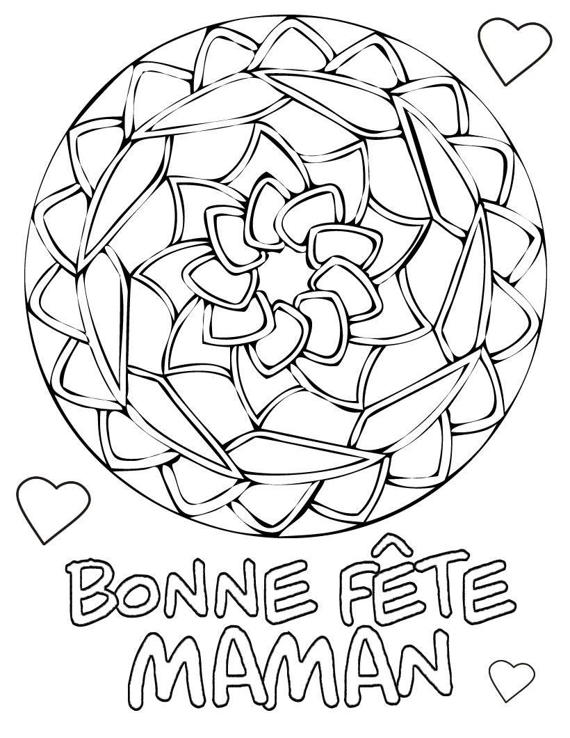 Un Joli Coloriage Avec Un Mandala En Forme De Rose Et intérieur Dessin Pour La Fête Des Mères