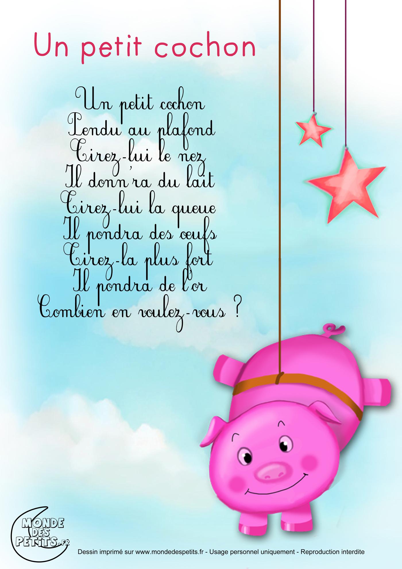 Un Petit Cochon Rose | Les Bouts D'Chou encequiconcerne Comptine Enfant Parole