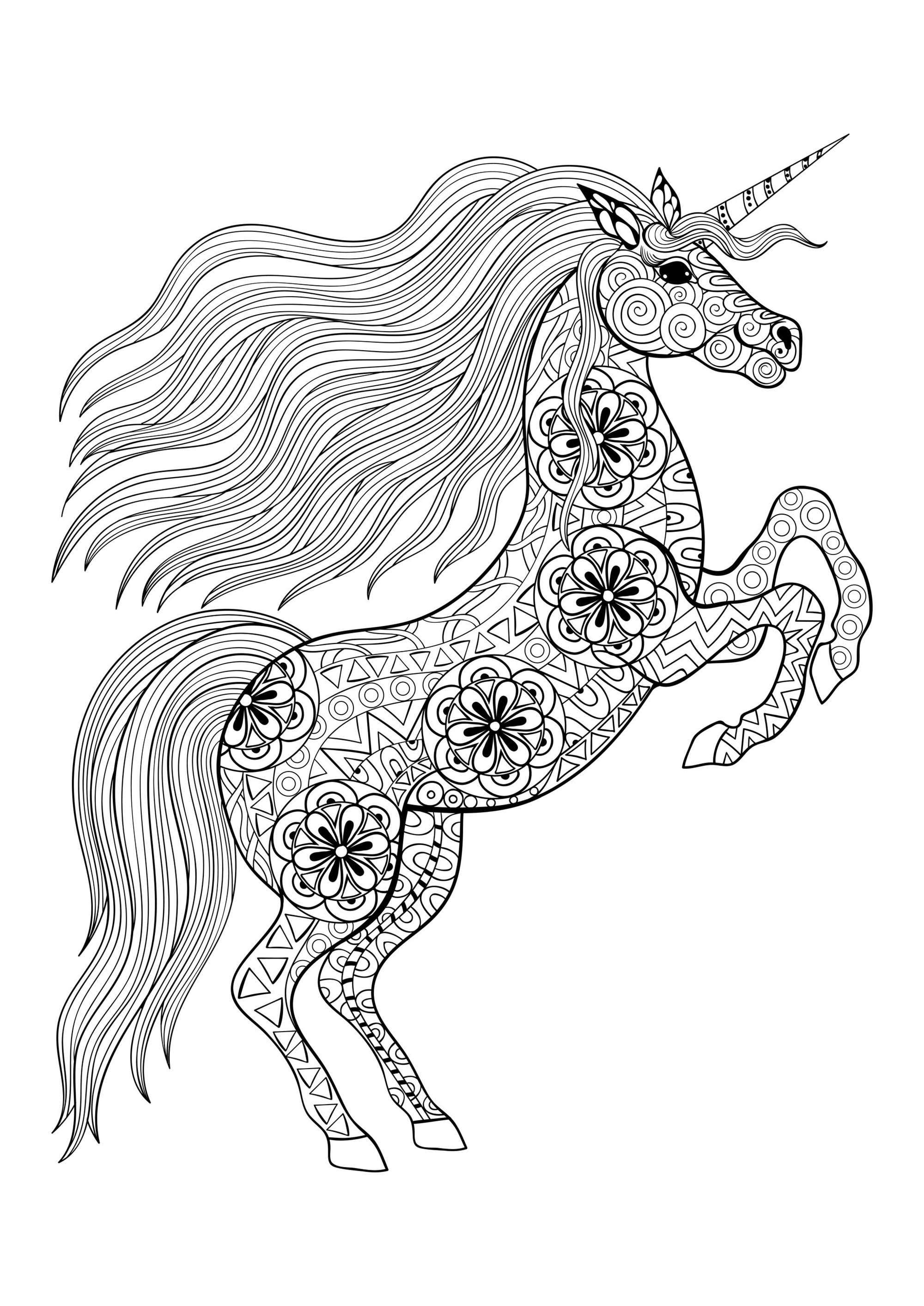 Unicorn On Its Two Back Legs - Unicorns Adult Coloring Pages encequiconcerne Coloriag