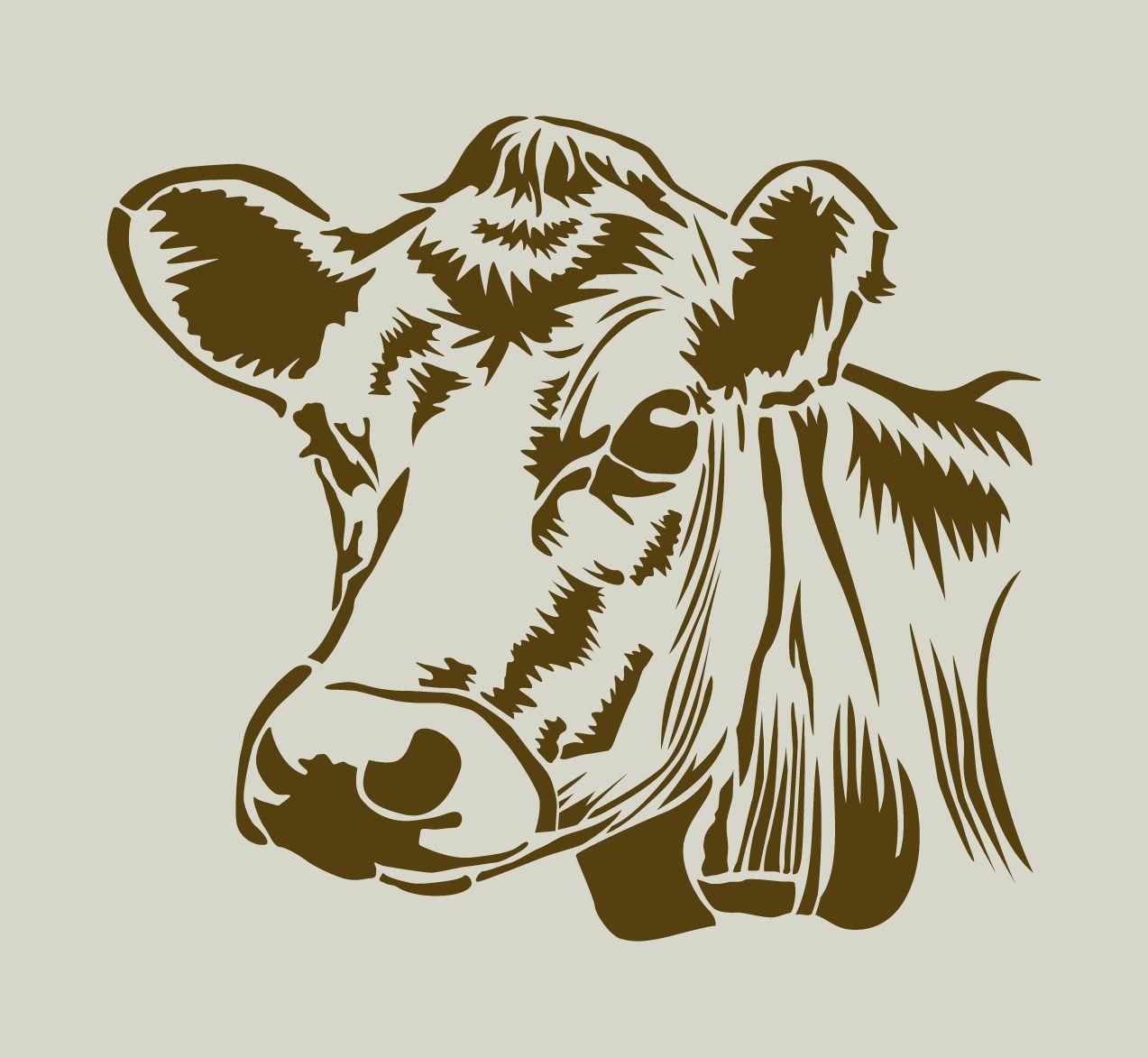 Vache. Tête De Vache. Pochoir En Vinyle Adhésif (Ref 143 avec Dessin D Une Vache