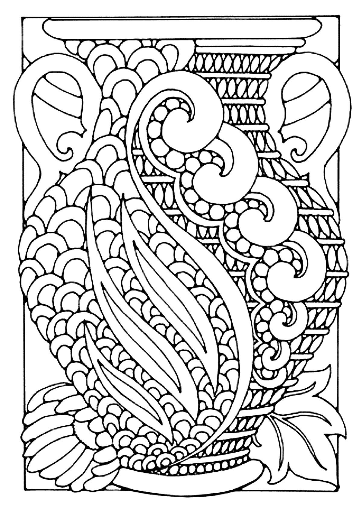 Vase Style Art Deco - Art Déco - Coloriages Difficiles serapportantà Dessin De Champignons A Imprimer