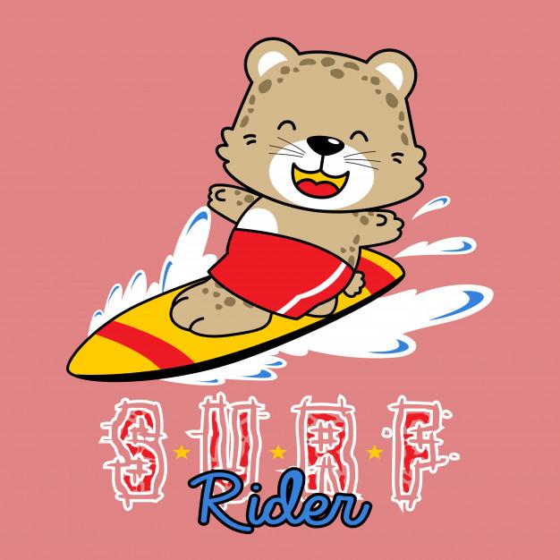 Vecteur De Dessin Animé Drôle De Surfeur Animal destiné Dessin Surfeur