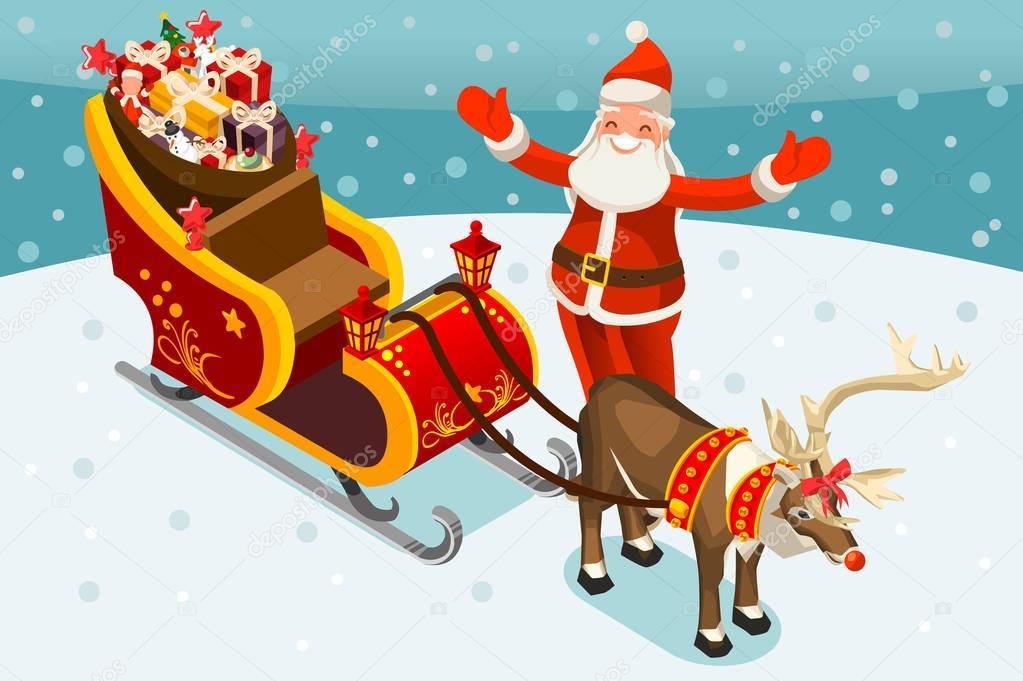 Vector Illustration De Traîneau Père Noël — Image concernant Traineaux Du Pere Noel