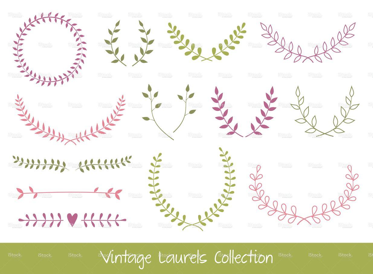 Vector Laurel Branches And Wreaths | Illustrations pour Couronne De Fleurs Dessin