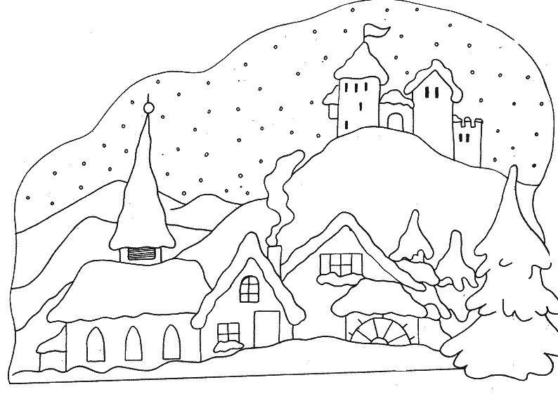 Village Sous La Neige | Coloriage Hiver, Coloriage à Village De Noel Dessin