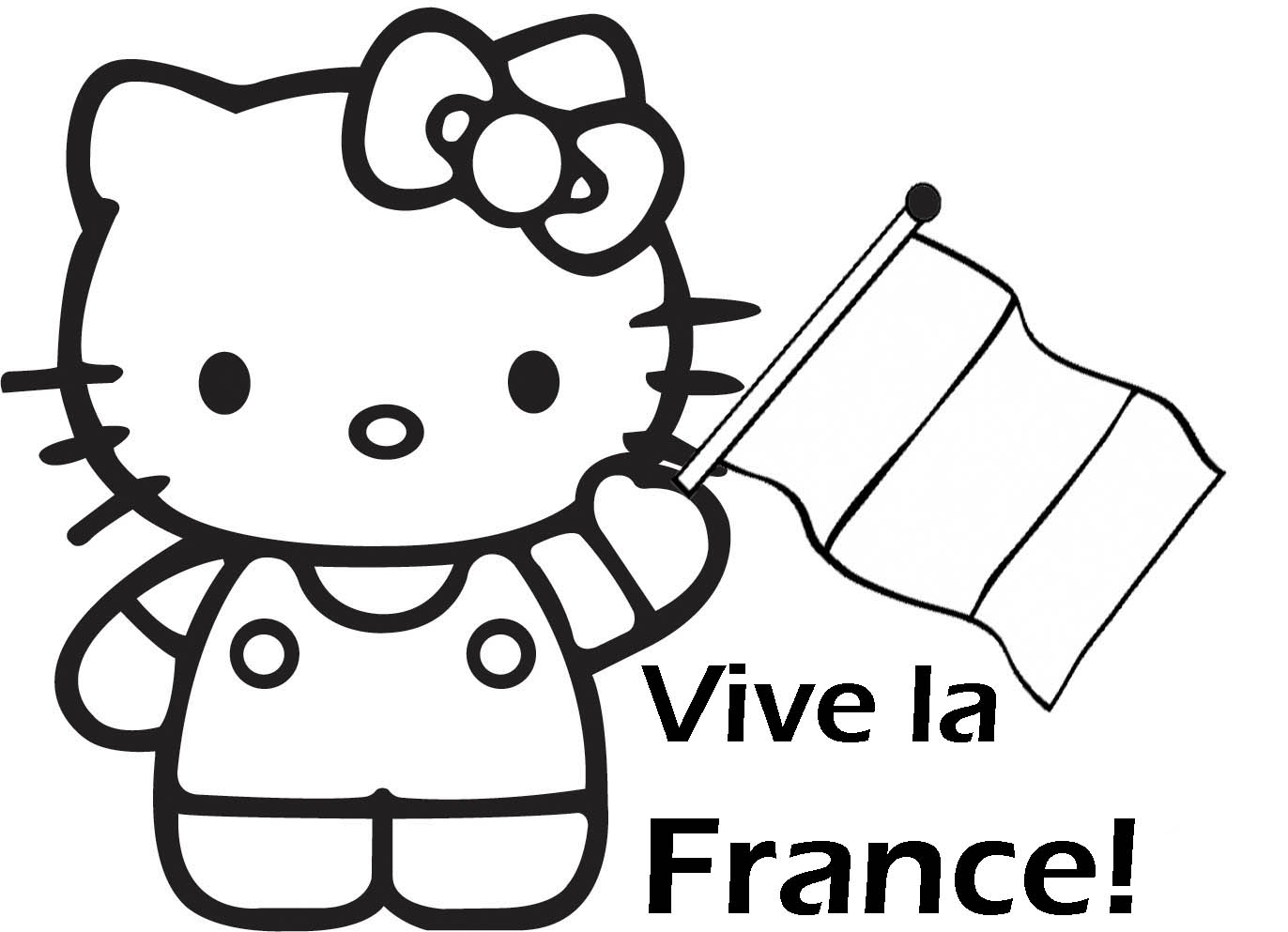 Vive La France Coloriage - Hello Kitty dedans Dessin Hello Kitty À Imprimer