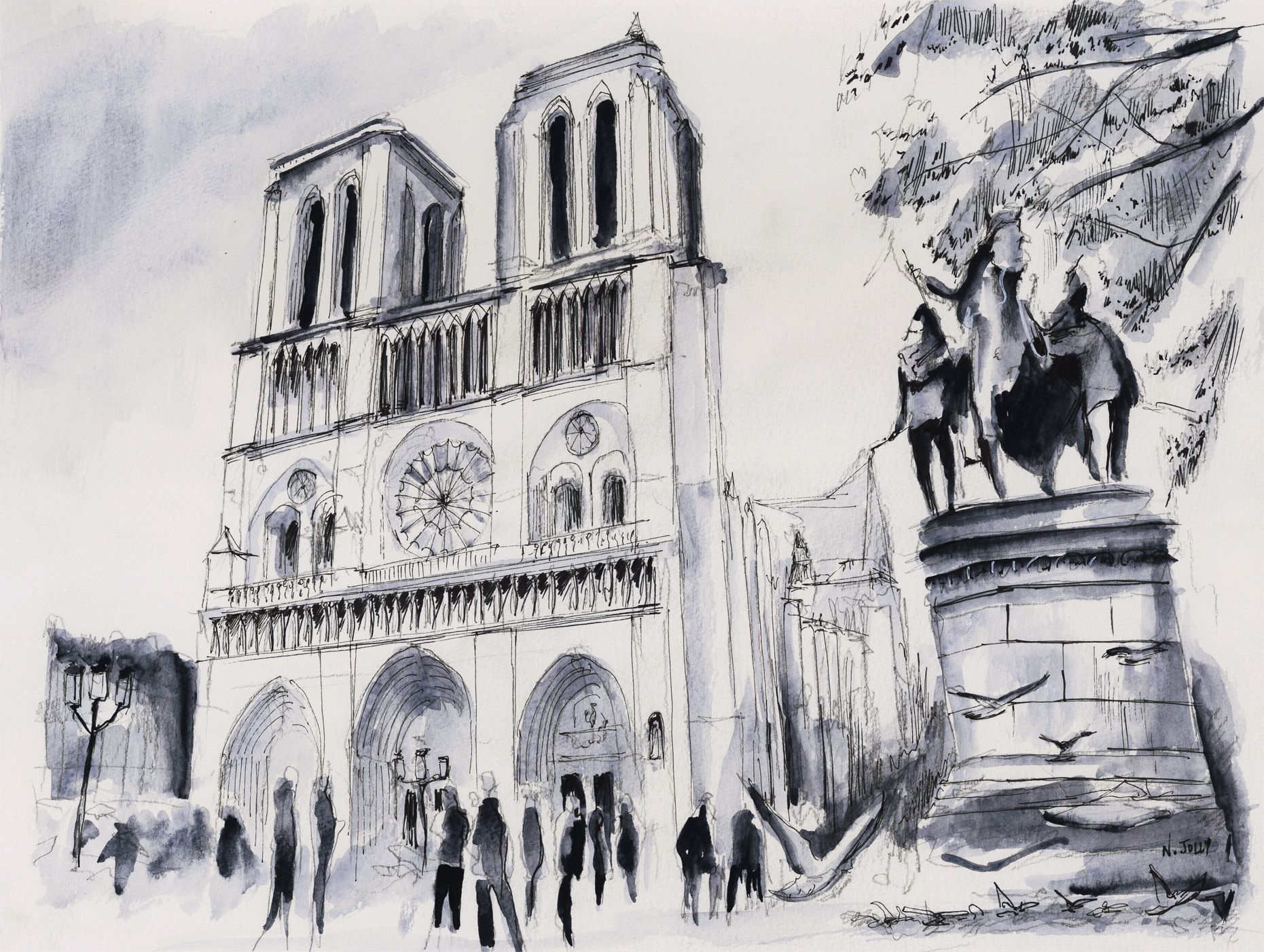 Watercolor / Aquarelle – Le Parvis De Notre-Dame – Paris serapportantà Coloriage Notre Dame De Paris