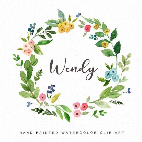 Watercolor Floral Wreath Clip Art-Wendy/Small Set encequiconcerne Couronne De Fleurs Dessin