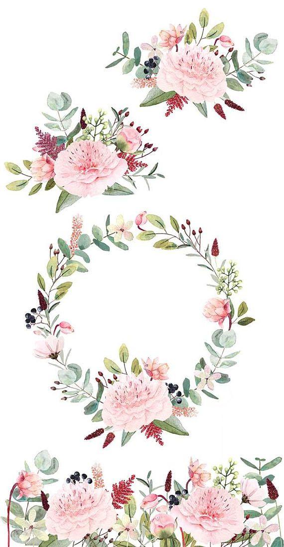 Watercolor Flower Clipart, Hand-Painted Peonies concernant Couronne De Fleurs Dessin