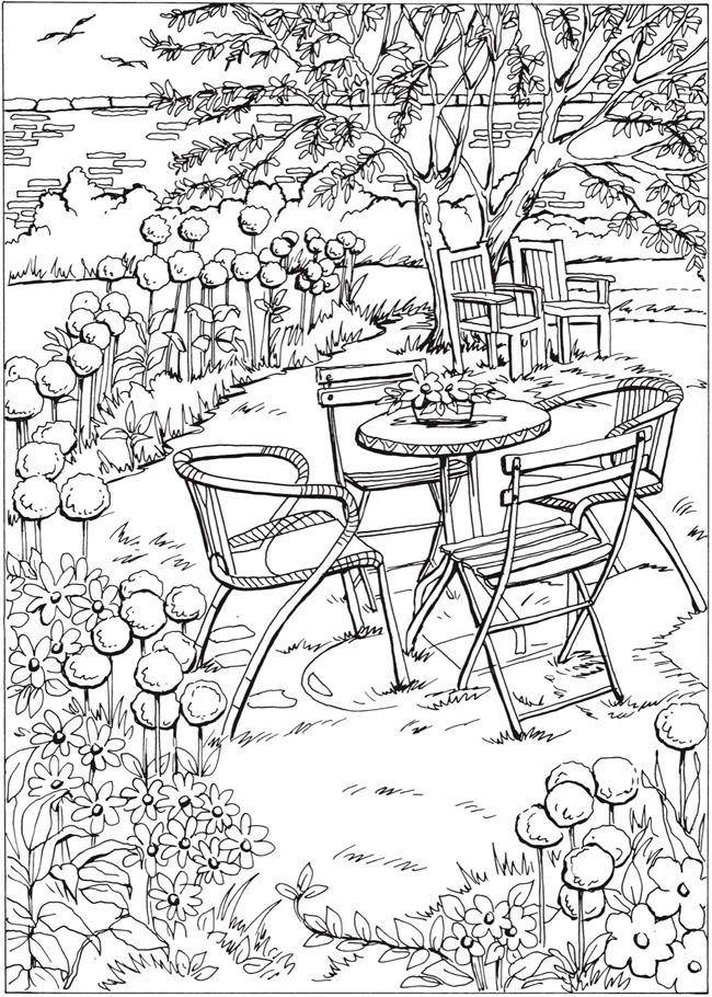 Welcome To Dover Publications Creative Haven Summer Scenes tout Coloriage A Imprimer Paysage Nature
