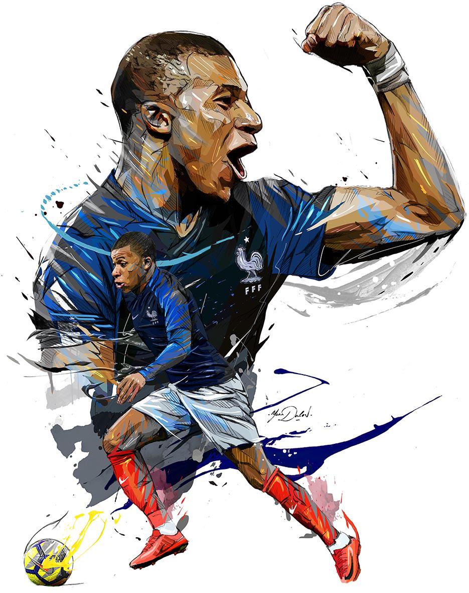World Cup 2018 Illustrations: Félicitations Les Bleus (France) avec Coupe Du Monde Dessin