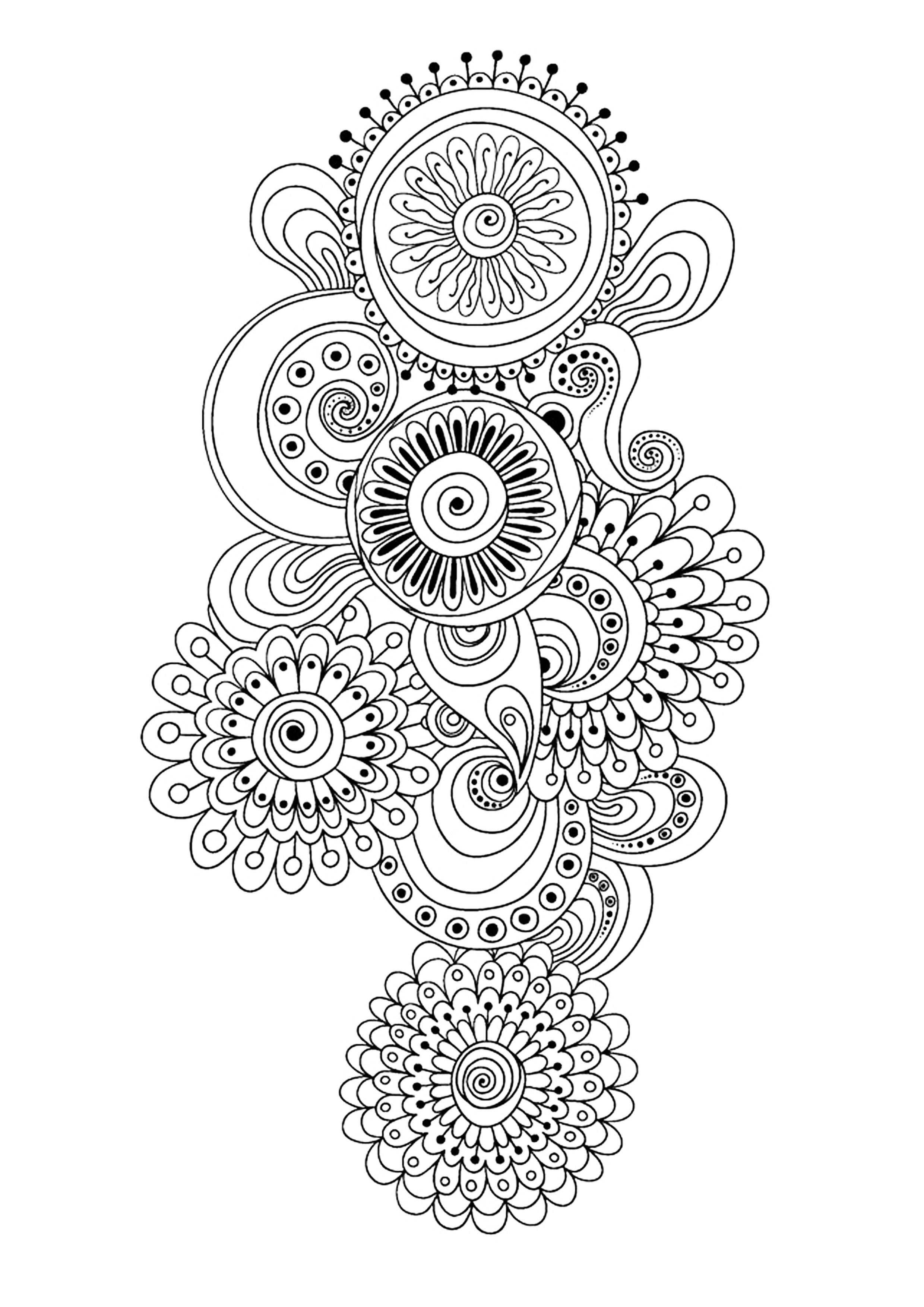 Zen Antistress Motif Abstrait Inspiration Florale 10 avec Coloriage Zen
