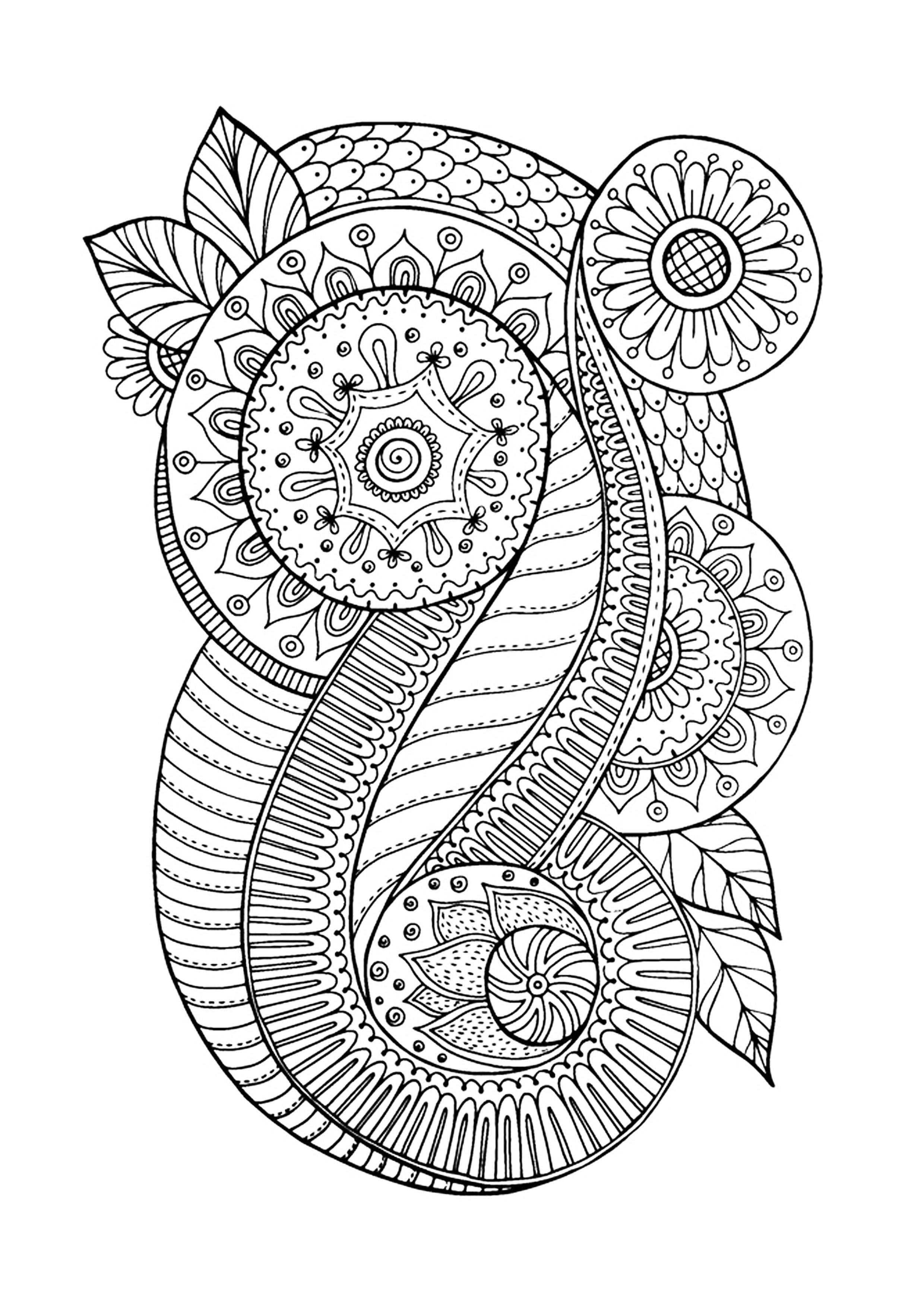 Zen Antistress Motif Abstrait Inspiration Florale 4 - Anti serapportantà Coloriage Anti Stress Adulte A Imprimer