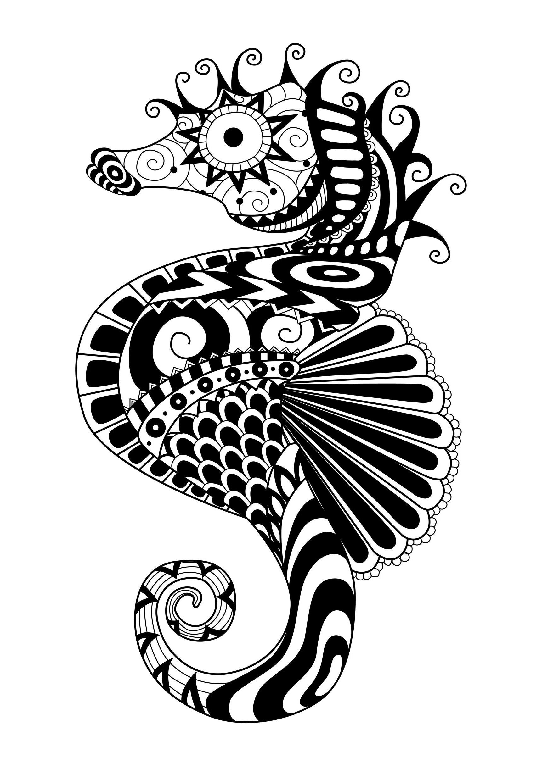 Zentangle Sea Horse - Zentangle Adult Coloring Pages pour Coloriage Simple À Imprimer