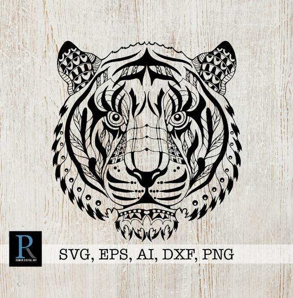 Zentangle Tiger Svg Mandala Tiger Svg Tiger For Cricut   Etsy dedans Mandalas De Tigres